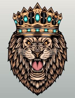 Roi lion avec couronne.