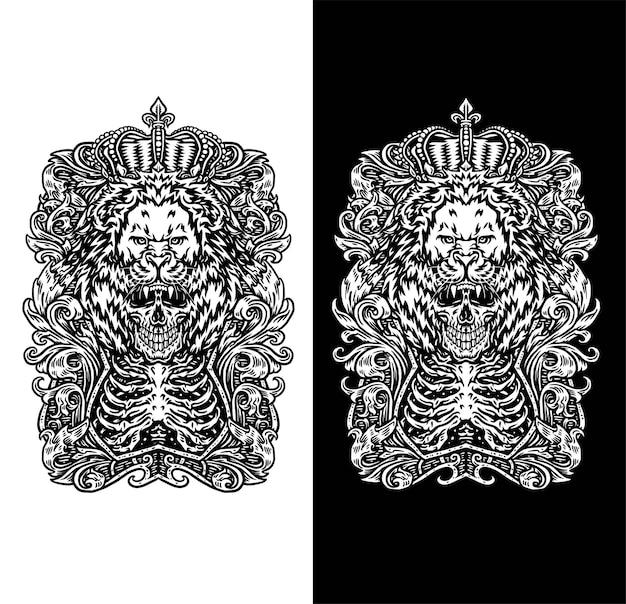 Roi lion avec crâne en noir et blanc