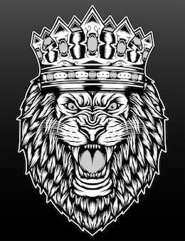Le roi lion isolé sur noir