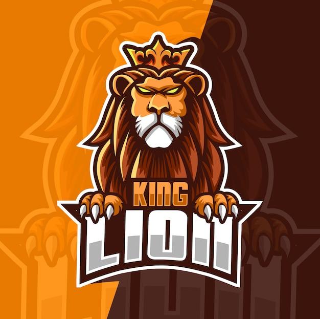 Roi lion mascotte esport logo