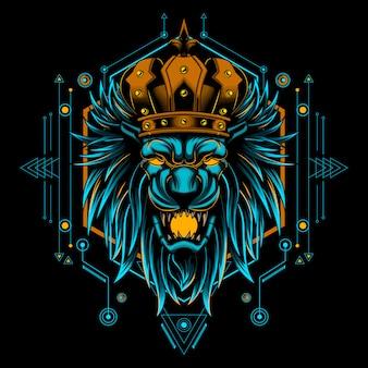 Roi lion tête géométrie d'illustration vectorielle mystique