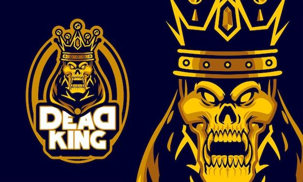 Roi mort en colère avec illustration de mascotte de logo de sports de couronne