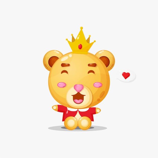 Roi de l'ours mignon avec coeur dans le discours de la bulle