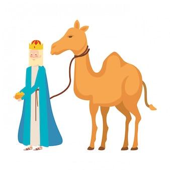 Roi sage avec le personnage de mangeoire de chameau