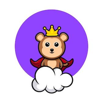 Roi singe mignon debout sur la mascotte de dessin animé de ciel