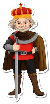 Roi tenant l'autocollant de personnage de dessin animé d'épée