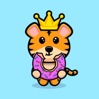 Roi de tigre mignon mangeant la mascotte de dessin animé de beignet