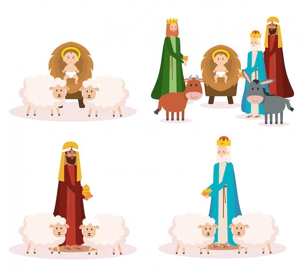 Rois sages et personnages de crèche de bébé jésus
