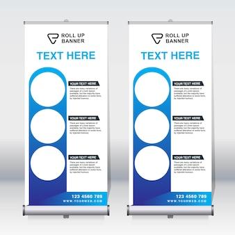 Roll up banner, pull up banner, x-banner, nouveau modèle de conception de vecteur vertical moderne