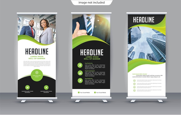Roll up template pour stand bannière verticale