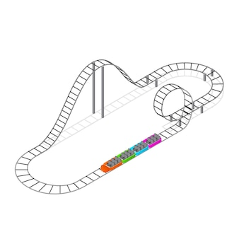 Roller coaster attraction vue isométrique concept élément loisirs fun