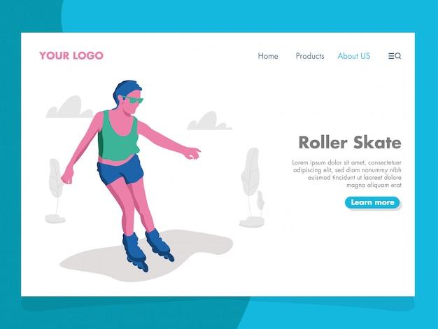 Roller skate illustration pour landing page