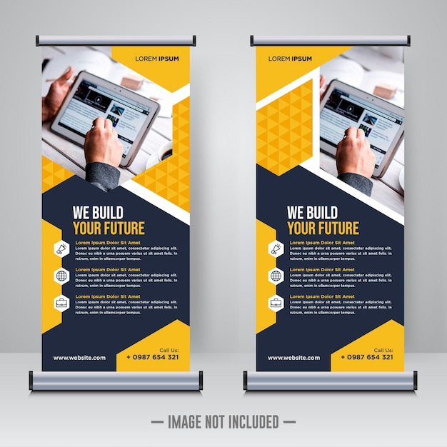 Rollup d'entreprise ou modèle de conception de bannière x