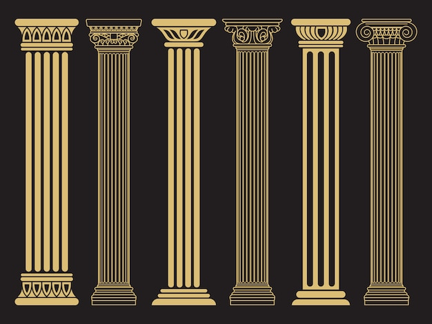 Romains classiques élégants, ligne d'architecture grecque et colonnes de silhouette