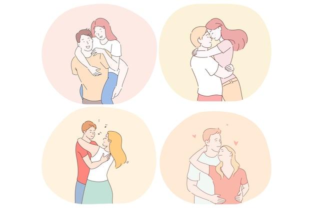 Romance, amour, rencontres, relation, concept de convivialité.