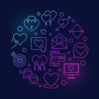Romance et amour rond illustration linéaire colorée