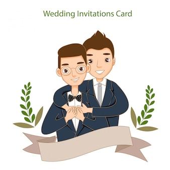 Romantique couple gay mignon dans la carte d'invitations de mariage