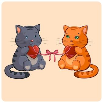 Romantique deux chats amoureux illustration drôle
