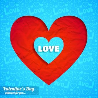Romantique élégant avec illustration de papier froissé coeurs coupés