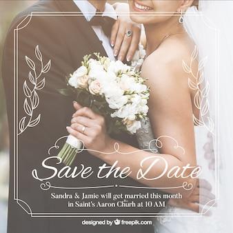 Romantique enregistrer le modèle d'invitation de date