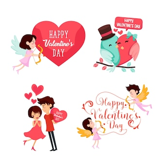 Romantique happy valentine card element illustration set