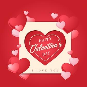 Romantique square paper art heureux valentine card illustration