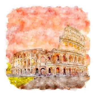 Rome italie croquis aquarelle illustration dessinée à la main
