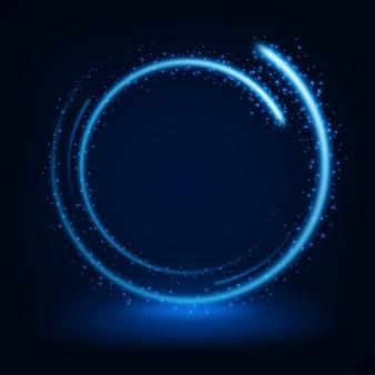 Rond bleu brillant d'étincelles