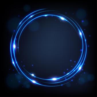 Rond bleu brillant avec fond d'étincelles