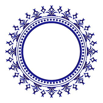 Rond en céramique ornementale bleue