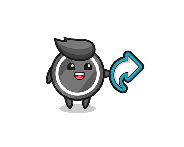 Une rondelle de hockey mignonne tient un symbole de partage de médias sociaux, un design de style mignon pour un t-shirt, un autocollant, un élément de logo