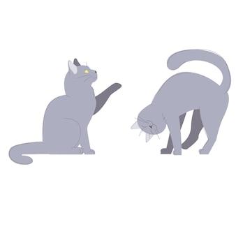 Ronronnant chat caressant et chat assis donnant la patte souriant heureux animal de compagnie ensemble d'animaux domestiques