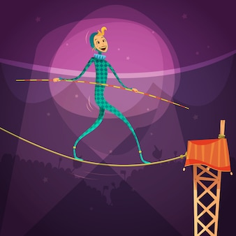 Ropewalker femme vêtue d'un costume avec un bâton et une corde dans l'illustration vectorielle de cirque dessin animé