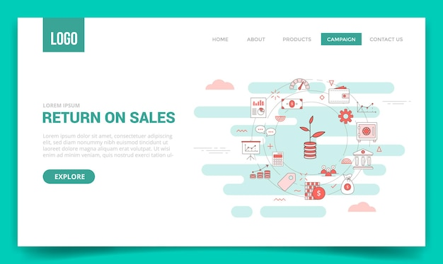 Ros retour sur le concept de vente avec l'icône de cercle pour le modèle de site web