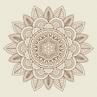 Rosace florale dessinée à la main en couleurs vintage