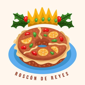 Roscon de reyes dessiné à la main