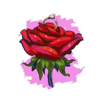 Rose avec croquis isolé de bague de mariage. carte de voeux de vacances saint valentin avec fleur