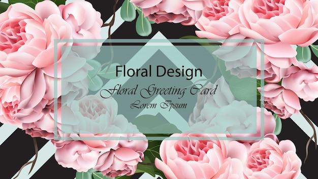 Rose fleurs fond modèle carte vecteur. conception 3d réaliste