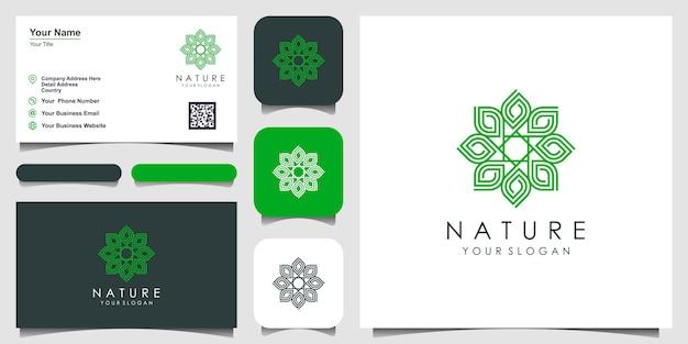 Rose floral élégant minimaliste avec un style d'art en ligne. les logos peuvent être utilisés pour la beauté, les cosmétiques, le yoga et le spa. logo et carte de visite