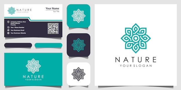 Rose florale élégante minimaliste avec logo de style art en ligne et carte de visite. logo pour la beauté, les cosmétiques, le yoga et le spa. conception de logo et carte de visite
