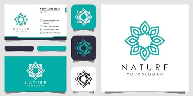Rose florale élégante minimaliste avec logo de style art en ligne et conception de carte de visite. logo pour la beauté, les cosmétiques, le yoga et le spa. conception de logo et carte de visite