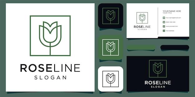 Rose florale élégante et minimaliste pour la beauté, les cosmétiques, le yoga et le spa. logo et carte de visite vecteur premium