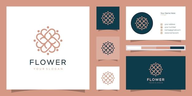 Rose florale élégante et minimaliste pour la beauté, les cosmétiques, le yoga et le spa. logo et carte de visite