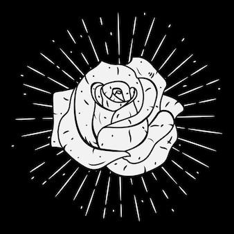 Rose. illustration avec une rose et des rayons divergents