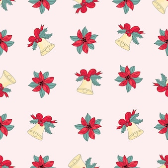 Rose jingle bells merry christmas seamless pattern