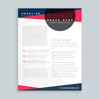 Rose moderne et dépliant d'affaires modèle de conception de la brochure bleue dans un style géométrique