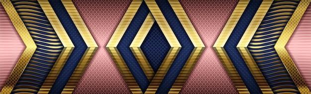 Rose numérique créatif sur bleu foncé avec dégradé de couleur or