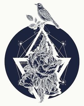 Rose et oiseaux, tatouage