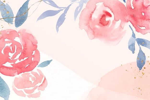 Rose rose cadre fond vecteur printemps aquarelle illustration