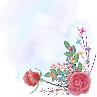 Rose rouge aquarelle avec fond splash